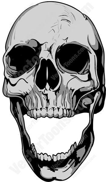 Skull Jaw Tattoo: Gray Human Skull Bone With Open Lower Jaw