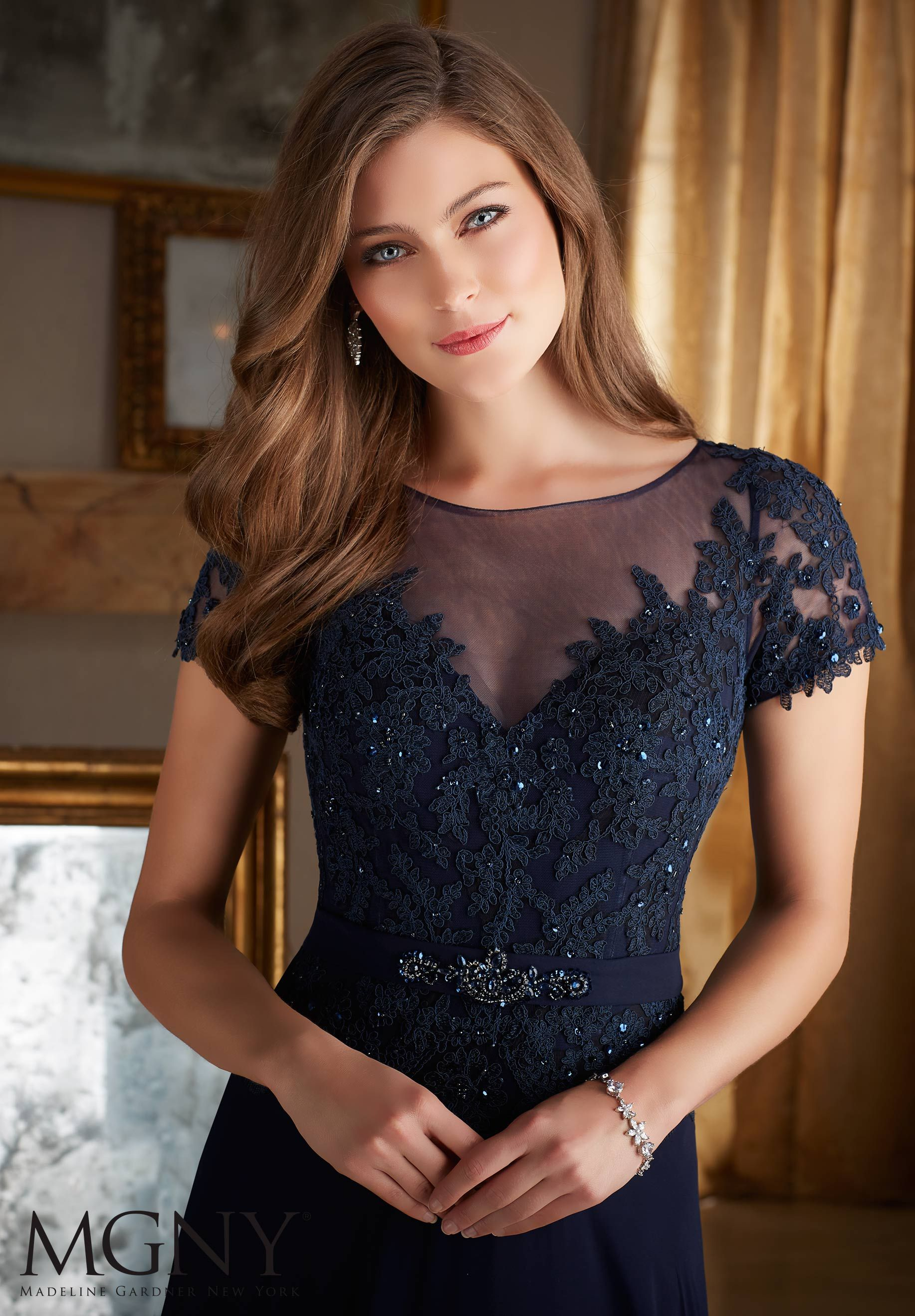 Beaded lace appliques on chiffon mother of the bride dress designed