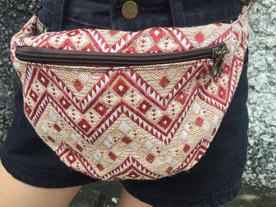 Beige Fanny pack festival boho bag Aztec tribal Street style pattern ...