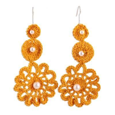 Flower earrings Boho earrings Marigold earrings yellow dangle earrings