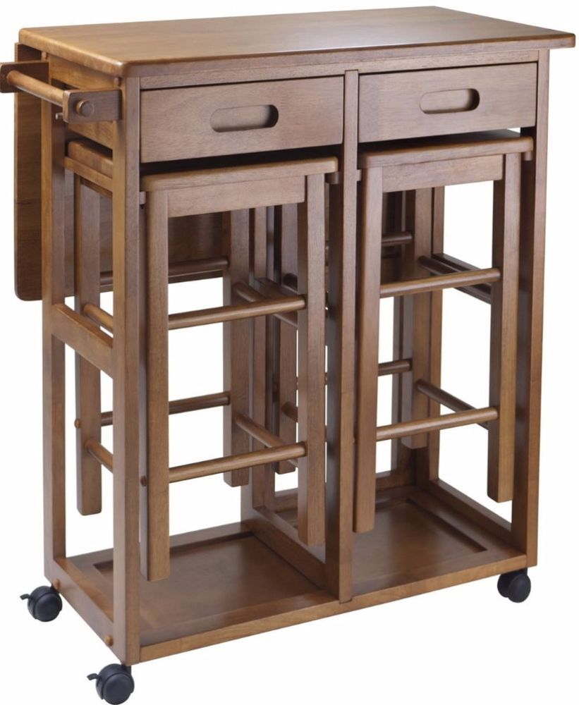 Traditional style wood space saver dualpurpose kitchen cart