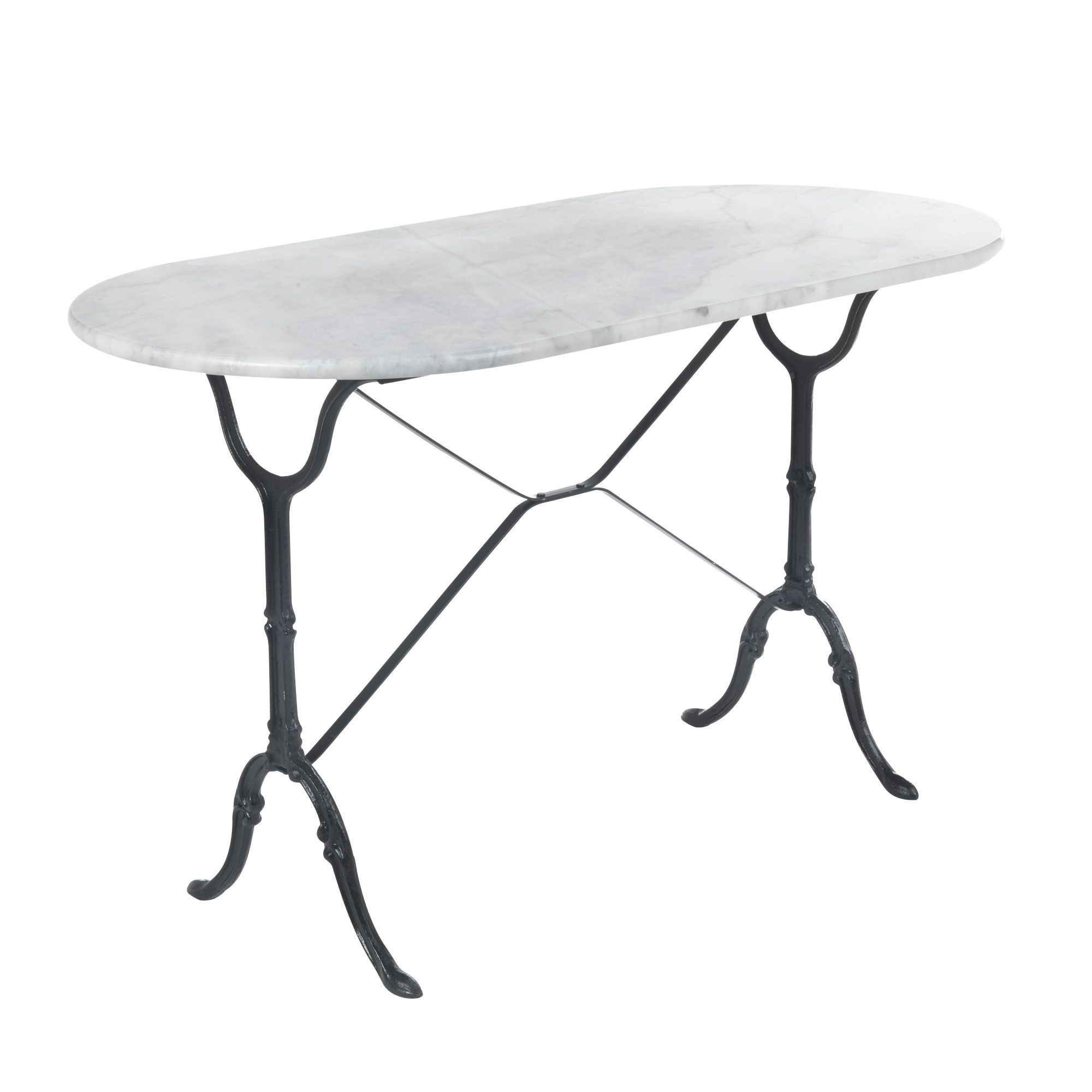 Table ovale en marbre blanc noir bistrot les tables de cuisine les meub - Table marbre conforama ...