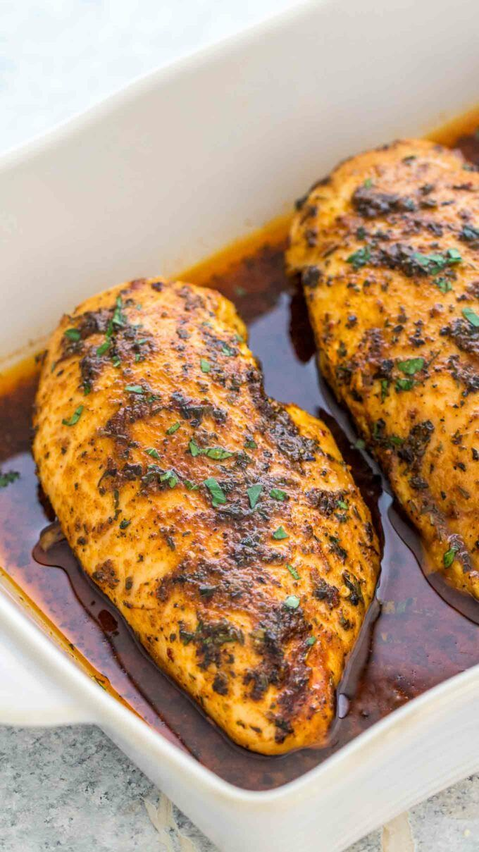 Baked Chicken Breasts Baked Chicken Breasts in the oven are deliciously seasoned and perfectly juicy. This homemade recipe is super easy to follow and requires simply a mixture of herbs, olive oil or butter, and chicken breasts.