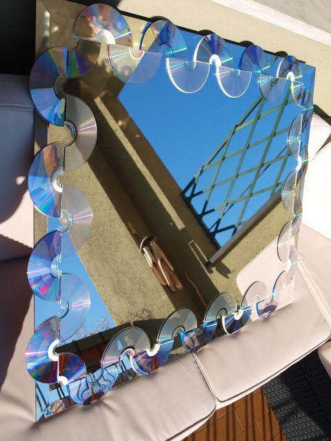 Simolab, il laboratorio di Simosì: Cornice specchio con CD e DVD