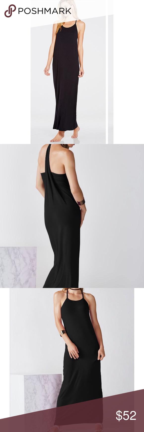 fabletics neema long black maxi dress nwt black maxi long