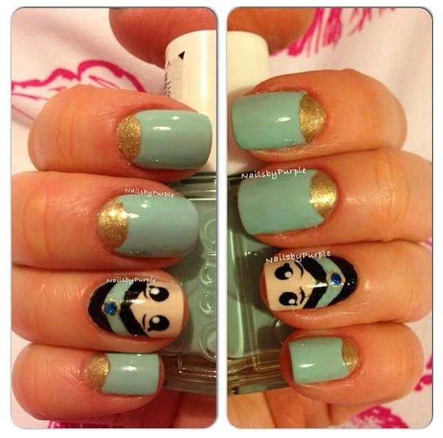 Disney Princess Nails: Disney Princess Aladdin Jasmine Nails Found On Instagram