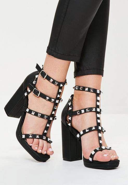 8069a63254f Missguided Black Gladiator Studded Block Heel Sandals