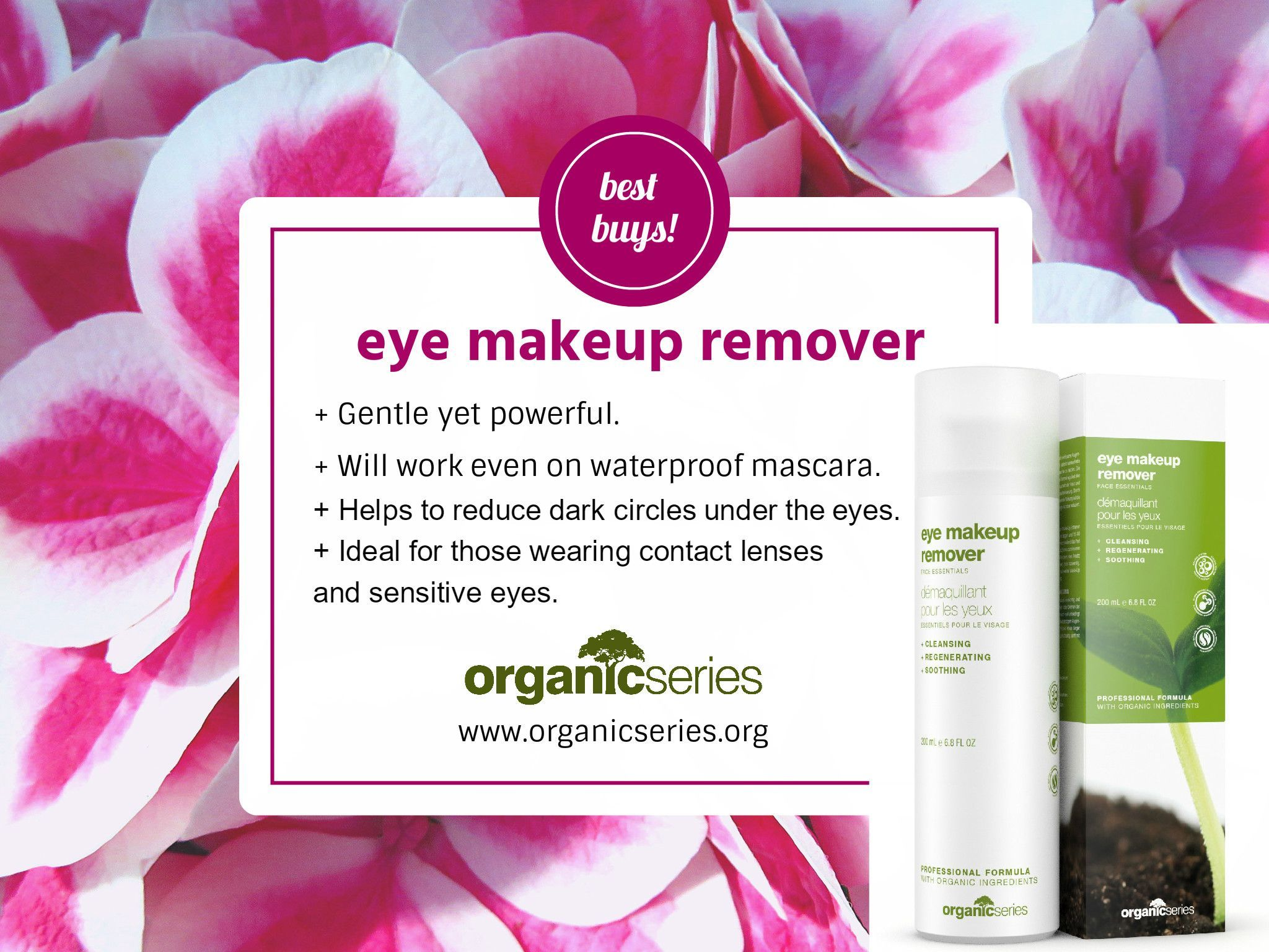 Organic Series eye makeup remover is a wonderful skin