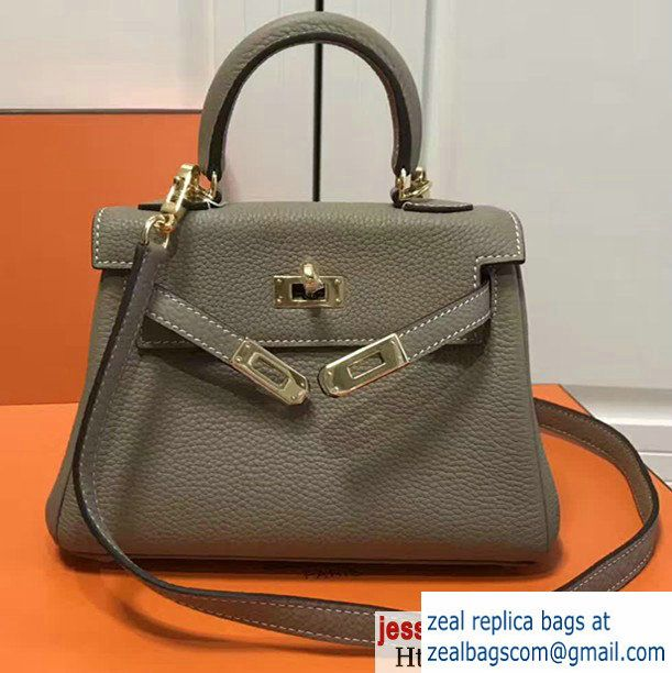 73387588a401 Hermes Togo Leather Kelly 20cm Mini Bag Light Gary