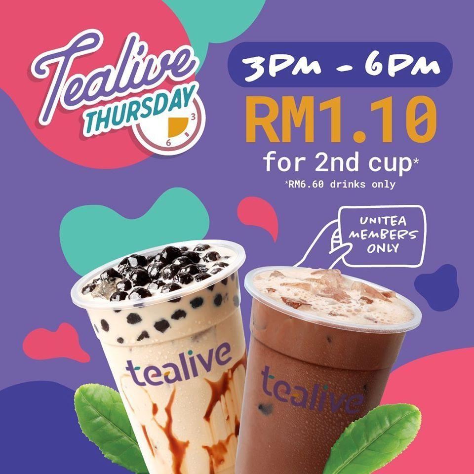 Tealive Thursday Promotion RM1.10 for 2nd Cup on every Thursday