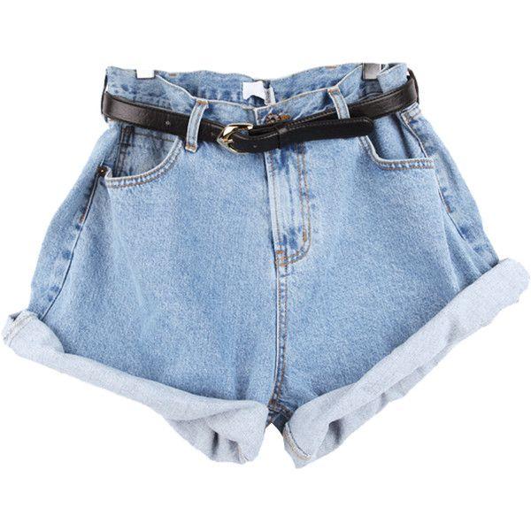 High Waist Shorts (59 BRL) ❤ liked on Polyvore featuring shorts, bottoms, pants, short, high-waisted shorts, high waisted short shorts, short jean shorts, high-rise shorts and denim short shorts