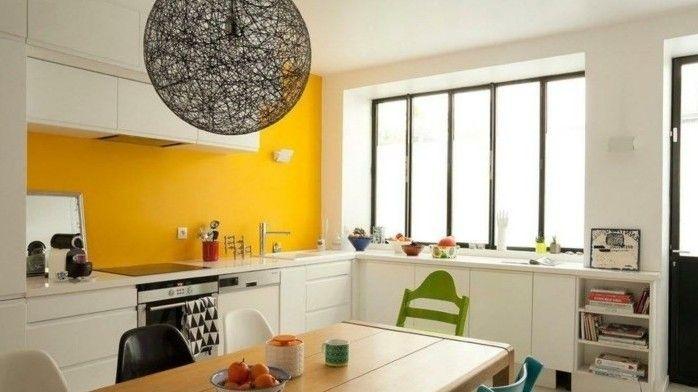 originelle küche in weiß un gelb wandfarben vorschläge - küche farben ideen