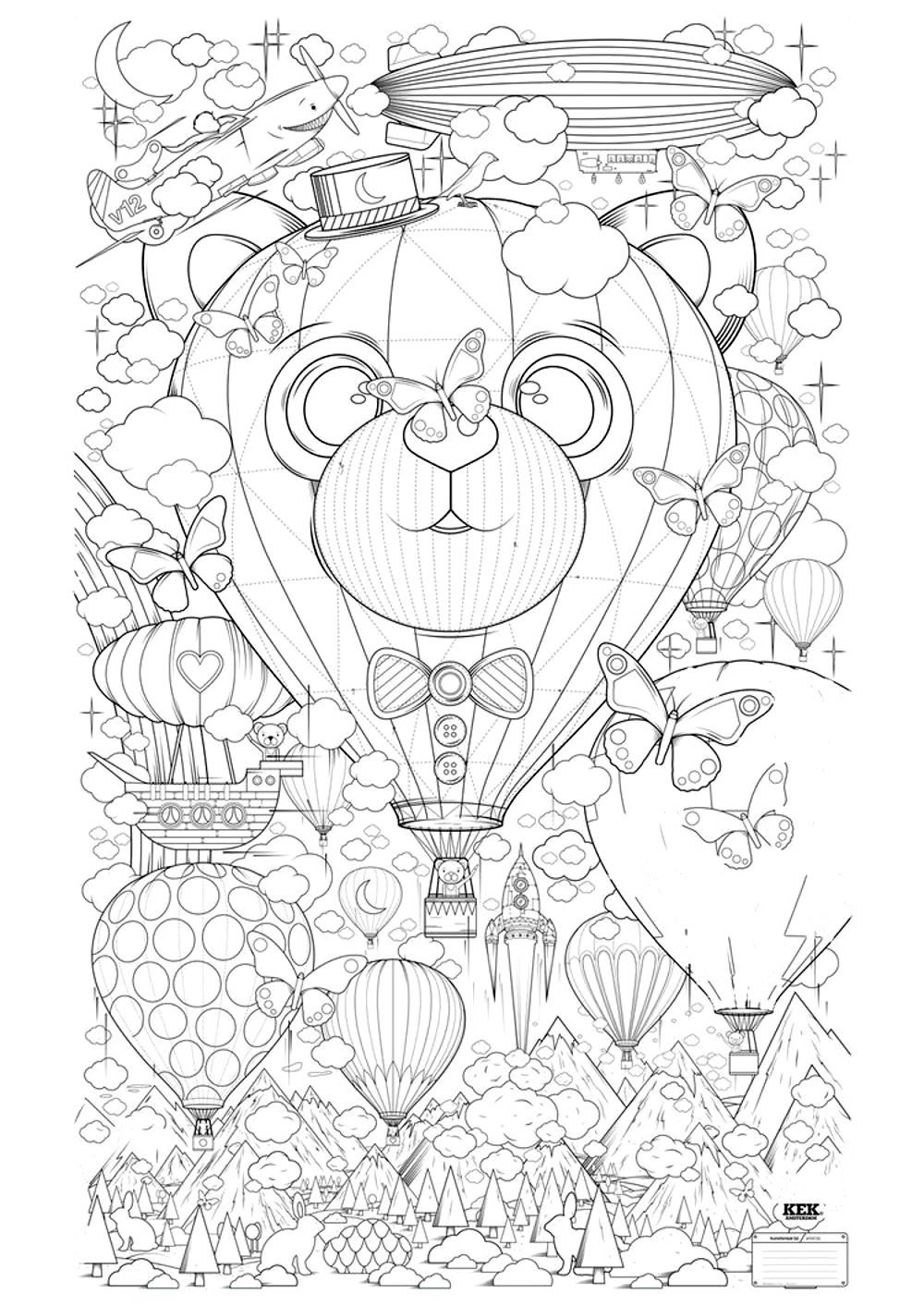 free coloring page coloring air balloon zen anti stress