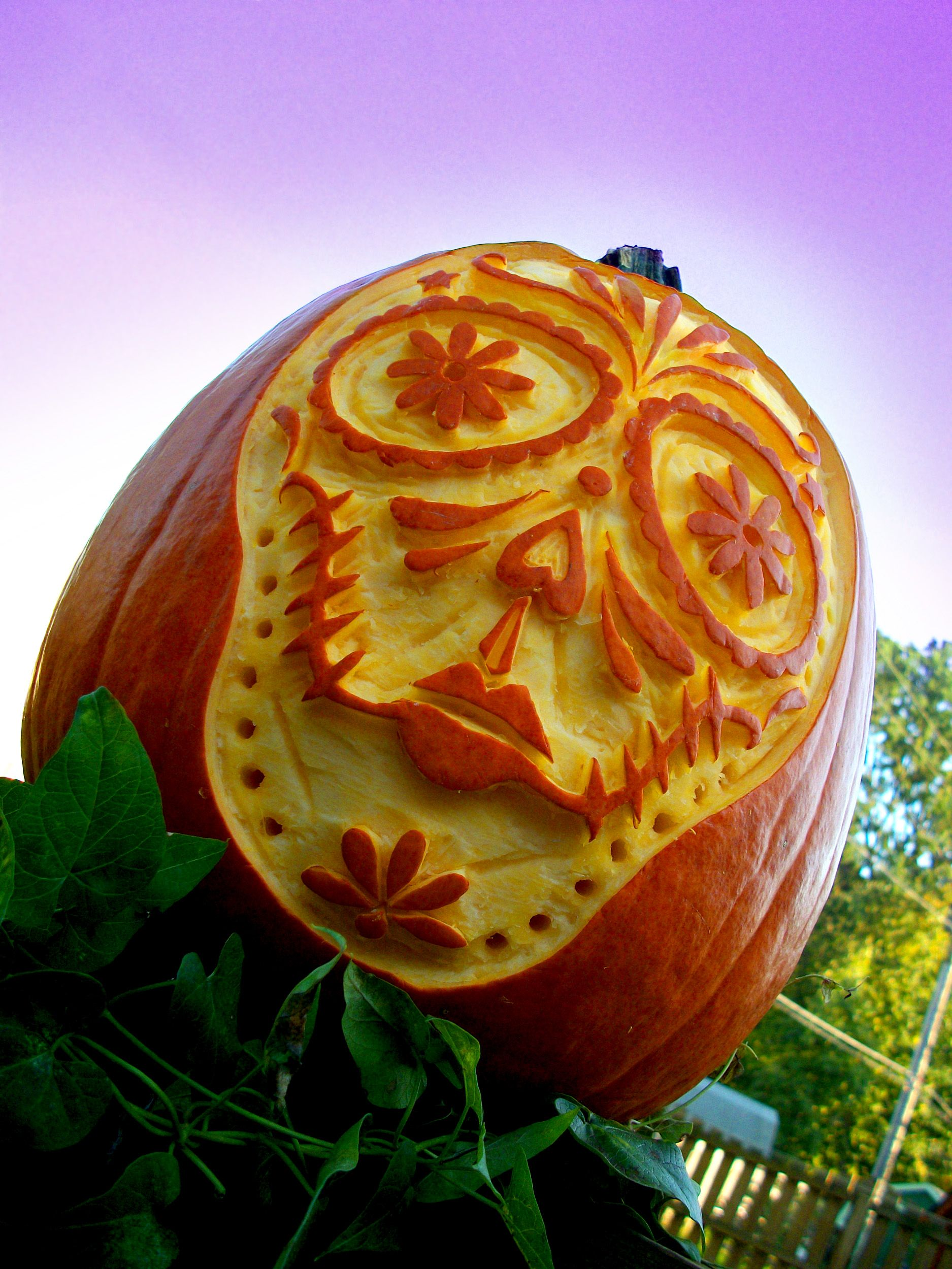 2Shea Creative Pumpkin Carving Templates Sugar Skull Pumpkin