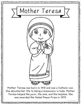 Mother Teresa Coloring Page or Poster with Mini Biography | Social ...