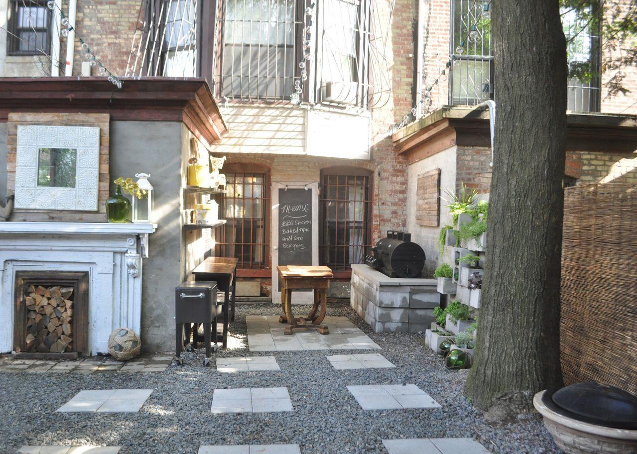 Sofia's DIY Garden Apartment in Brooklyn | Backyard patio ... on Apartment Backyard Patio Ideas  id=84655