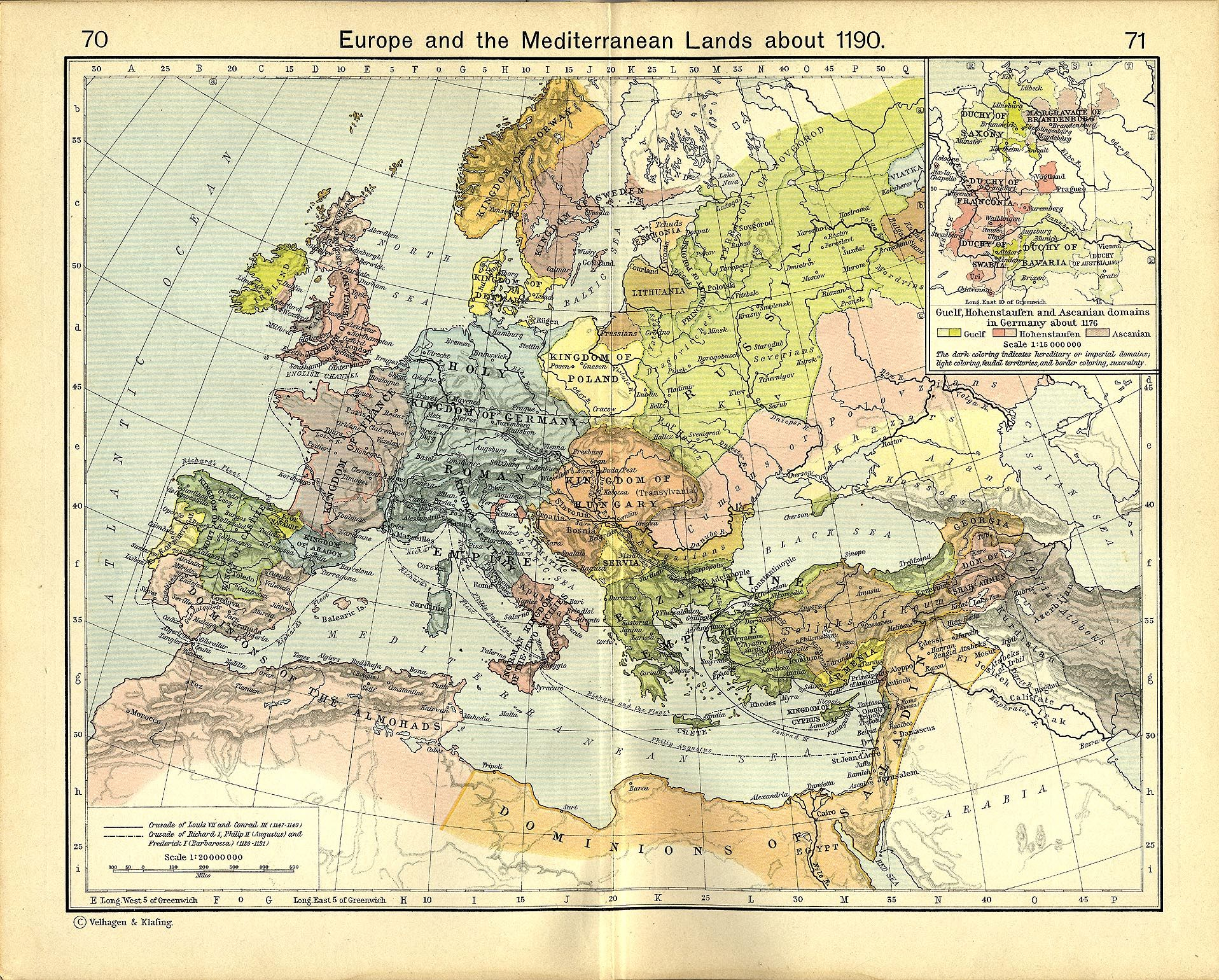 Europe And The Mediterranean Lands About Inset Guelf - Germany map middle ages