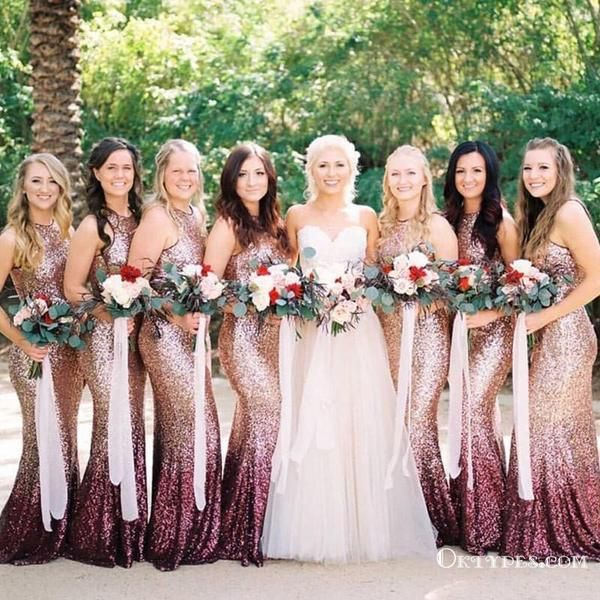 Mermaid Round Neck Long Ombre Sequined Bridesmaid Dresses