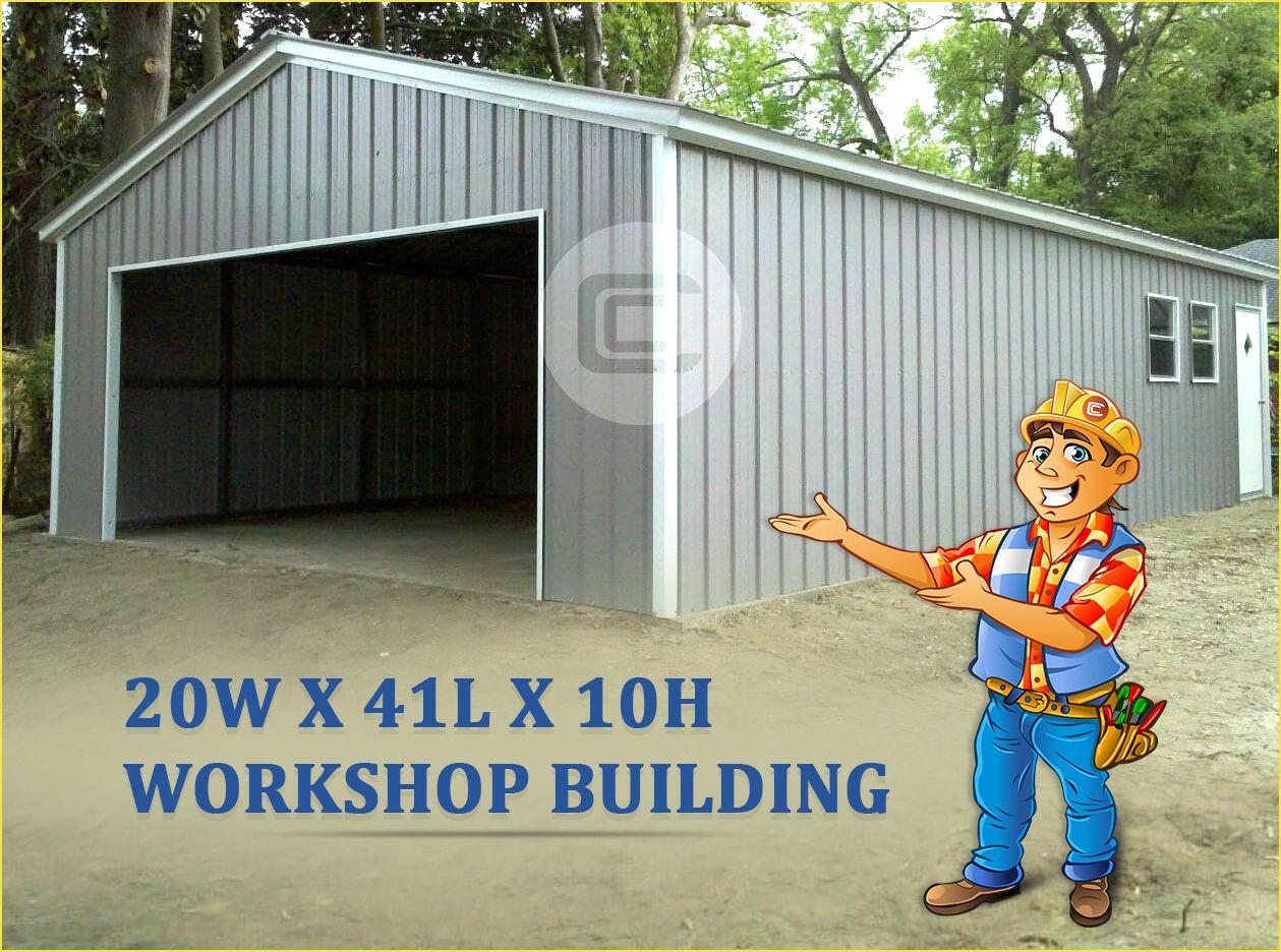 20x41 Vertical Garage Building Enclosed Workshop Structure Metal Garage Buildings Garage Design Roofing