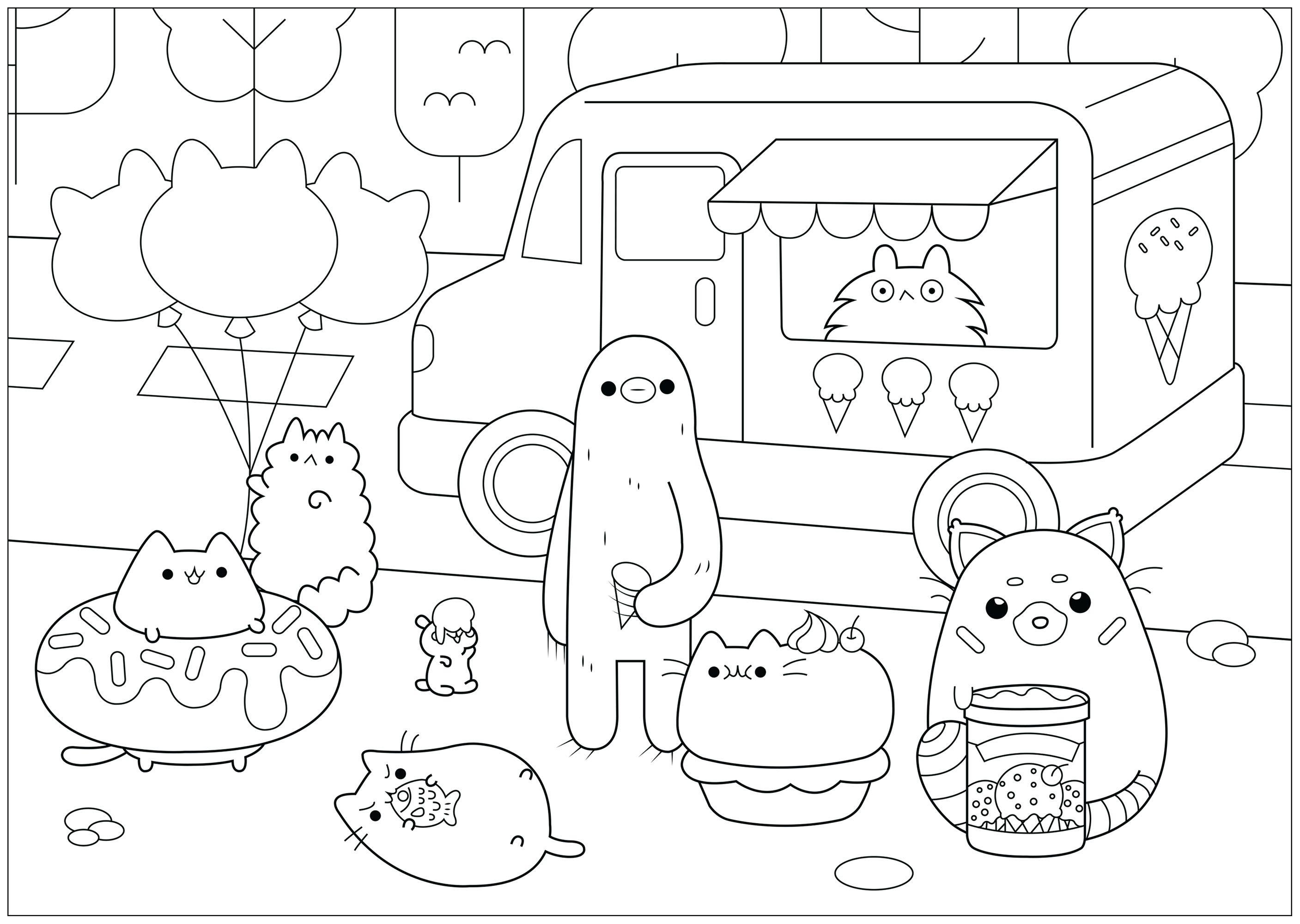 Ice cream shop Pusheen - Doodle Art / Doodling Coloring ...