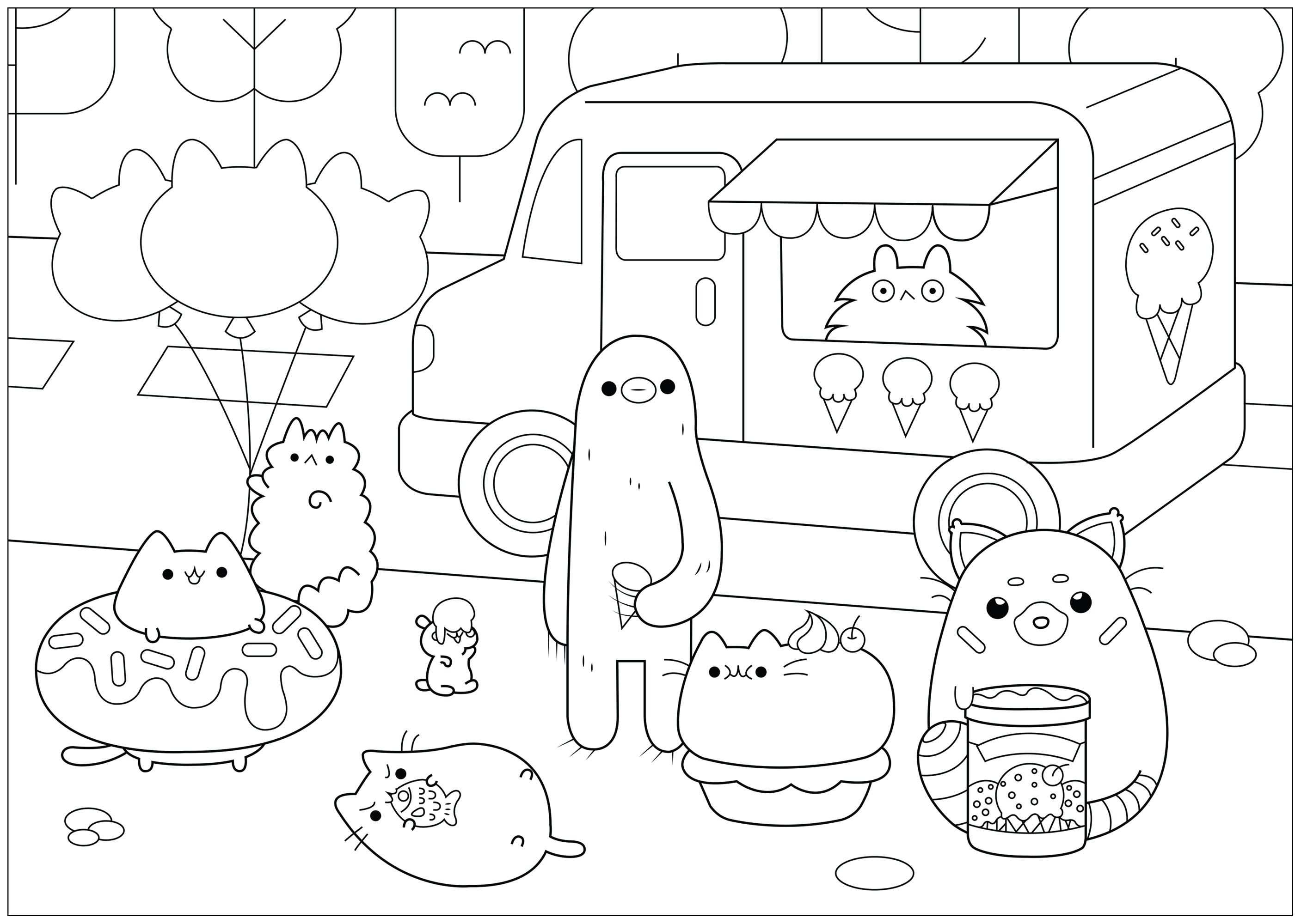 Ice Cream Shop Pusheen Doodle Art Doodling Coloring Pages For