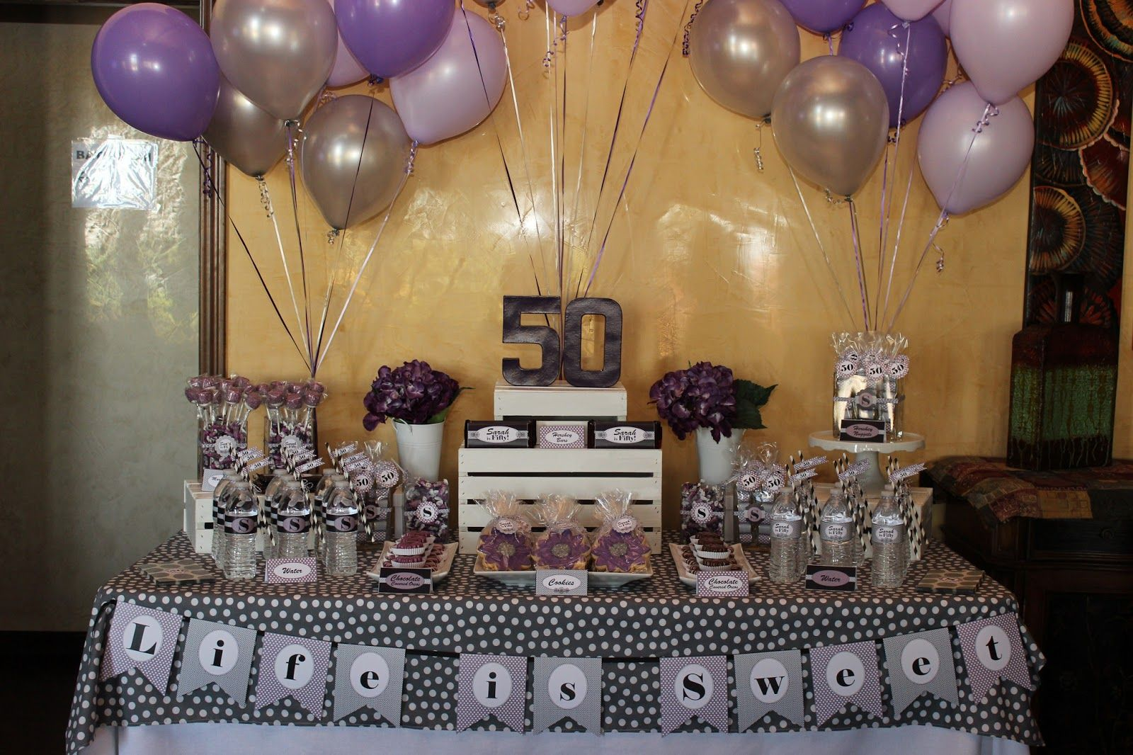 Purple And Gold 50th Birthday Party Ideas For Men Dessert Table Moms