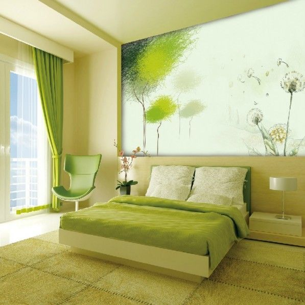 Bedroom. Small Bedroom Interior Design With Green Wall Idea And ...