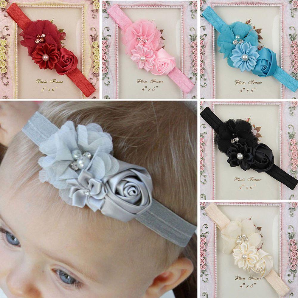 Baby Mädchen Schleife Rose Strass Haarband Stirnband Kopfband Haarschmuck