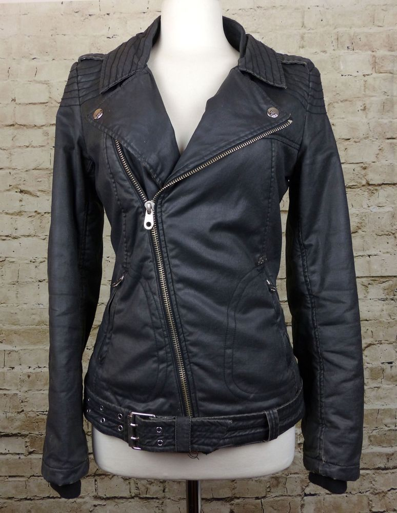 bd196ca2c678d Miss Sixty Womens Charcoal Gray Black Coated Twill Cotton Biker Moto Jacket  S #MissSixty #Motorcycle #Casual