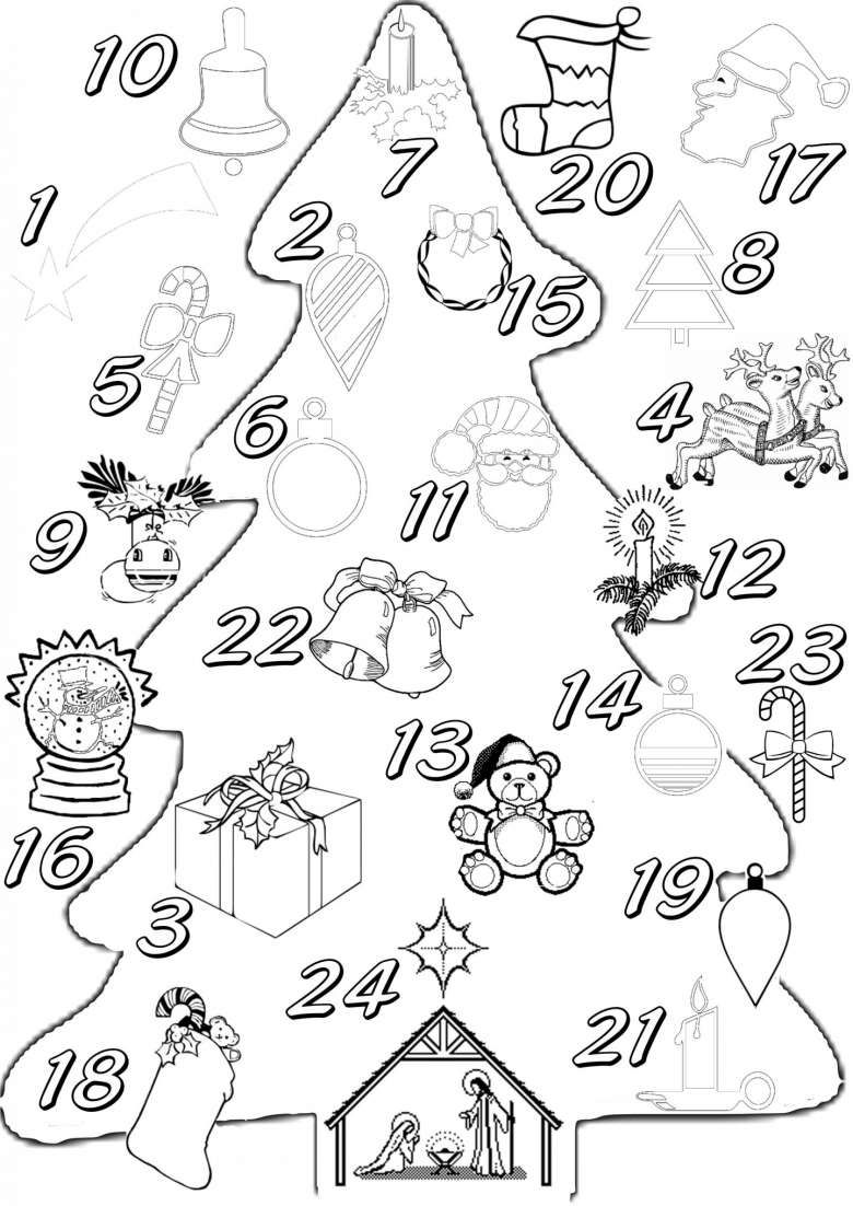 Calendario Dellavvento Da Stampare E Colorare Accoglienza Pinterest