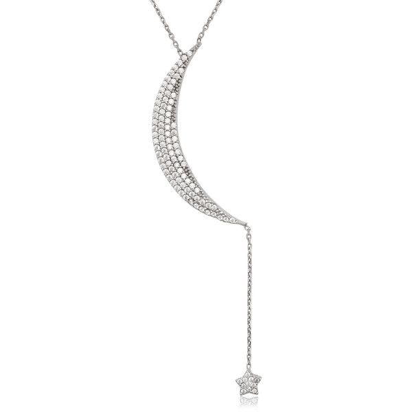 La Preciosa Sterling Silver Cubic Zirconia Moon and Star Necklace ($34) ❤ liked on Polyvore featuring jewelry, necklaces, white, sterling silver cz jewelry, star jewelry, sterling silver jewelry, sterling silver cubic zirconia necklace and la preciosa jewelry