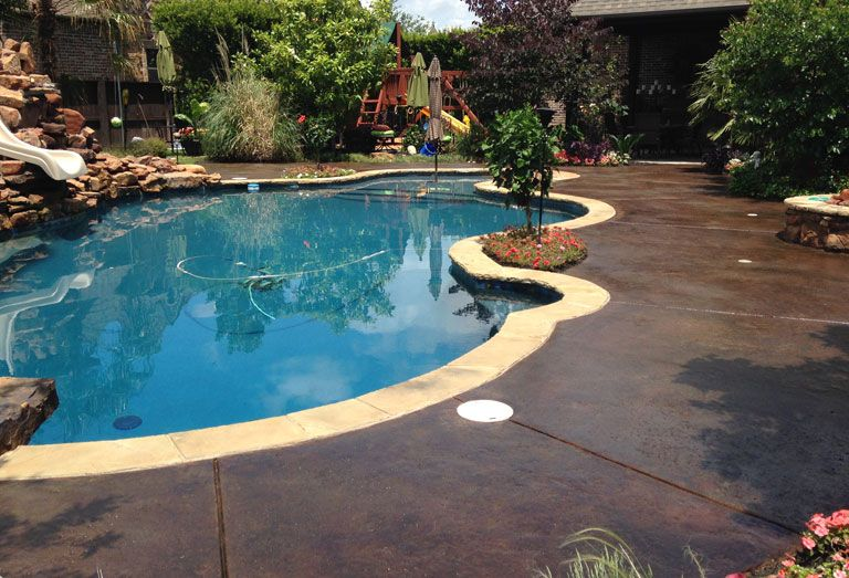 Stained Concrete Pool Deck Jpg Concrete Entryways