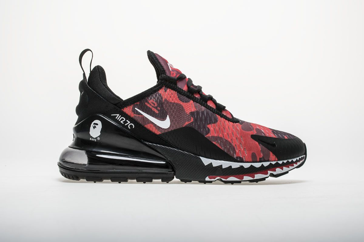 45bdb378ad7f Bape x Nike Air Max 270 AH6799-016 Red Shoes3