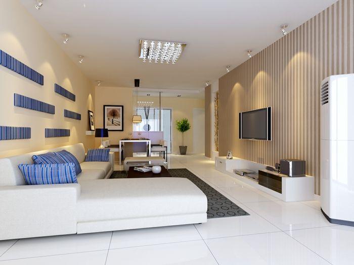wohnideen wohnzimmer frische akzente streifen weiße bodenfliesen q