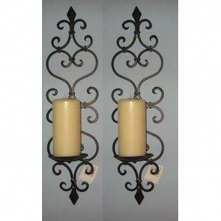 Cheap Chic Decor Tuscan Wrought Iron Fleur De Lis Candle Wall