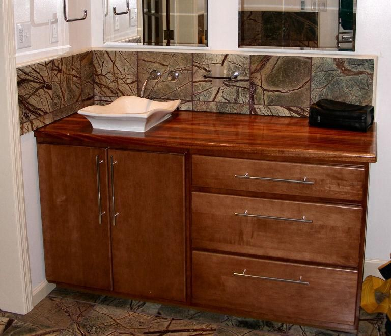 Another Wall Mounted Bathroom Sink. Wooden Countertop Seeled With Waterlox.