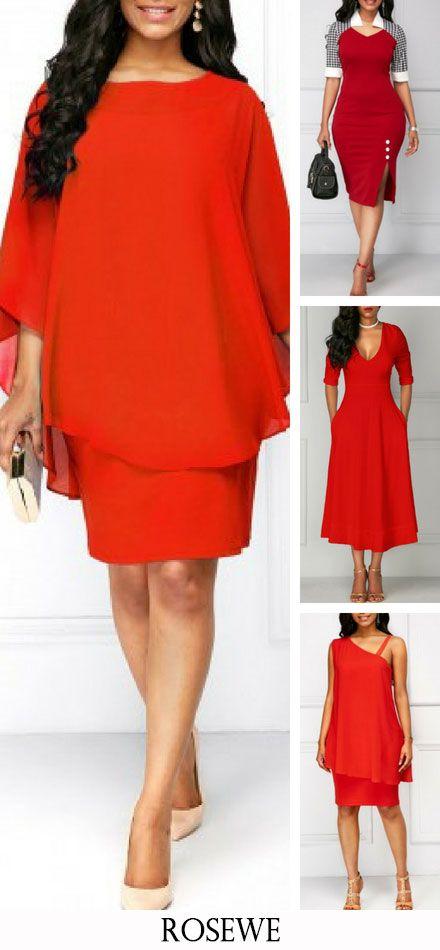 7b19efabf35 Round Neck Orange Red Chiffon Overlay Dress. Rosewe red dress  womensfashion casualstyle