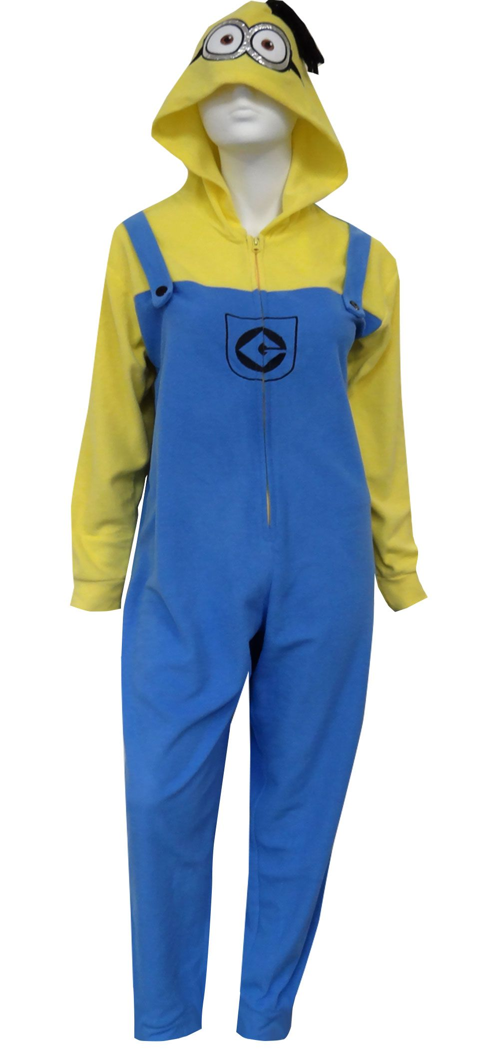 5c7dfddcade9ec Despicable Me Minion in Overalls Hooded One Piece Pajama | Adult ...