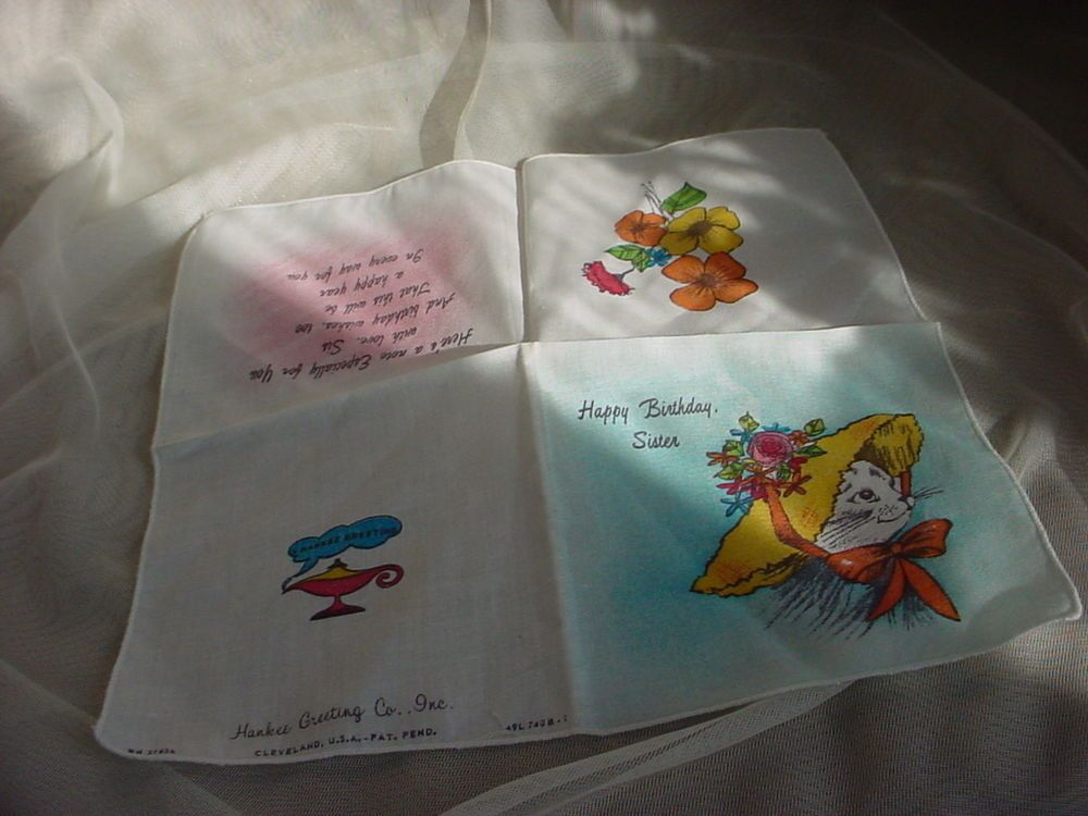 Vintage Hankee Greeting Card Handkerchief Happy Birthday Sister Kitty Cat w Hat