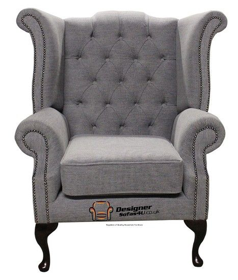 Chesterfield Fabric Queen Anne High Back Wing Chair Verity Plain Steel Traditional Sofas