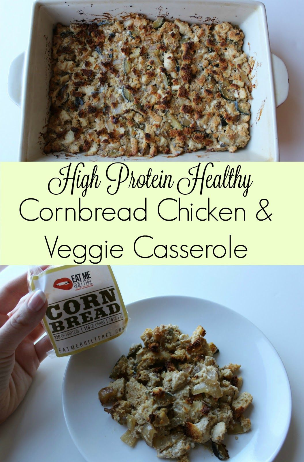 """This cornbread casserole skips using any """"cream of"""" soups and instead uses greek yogurt and high protein cornbread cakes to make a hearty casserole full of protein!"""