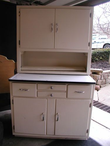 Hoosier Cupboard with Enamel Top Roll Top | Cabinet, Bakers ...