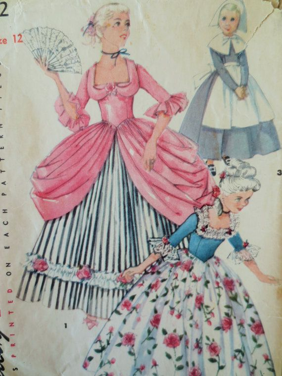 Vintage Simplicity 4862 Sewing Pattern Colonial Gown Puritan Dress