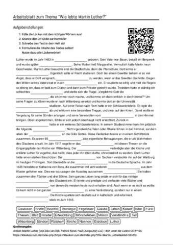 Arbeitsblatt mit Lückentext zum Thema