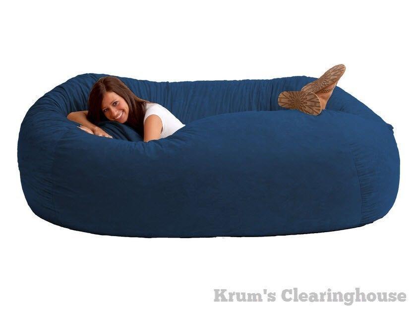7 Large Bean Bag Chair Suede Cozy Sac Love Seat Sack Cover Comfort Dorm Foam