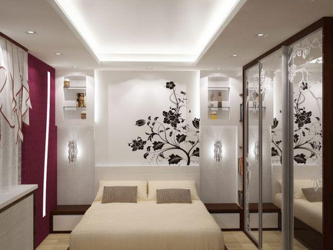 kleine-schlafzimmer-modern-wandttattoo-blumen-indirekte-led - schlafzimmer beleuchtung led