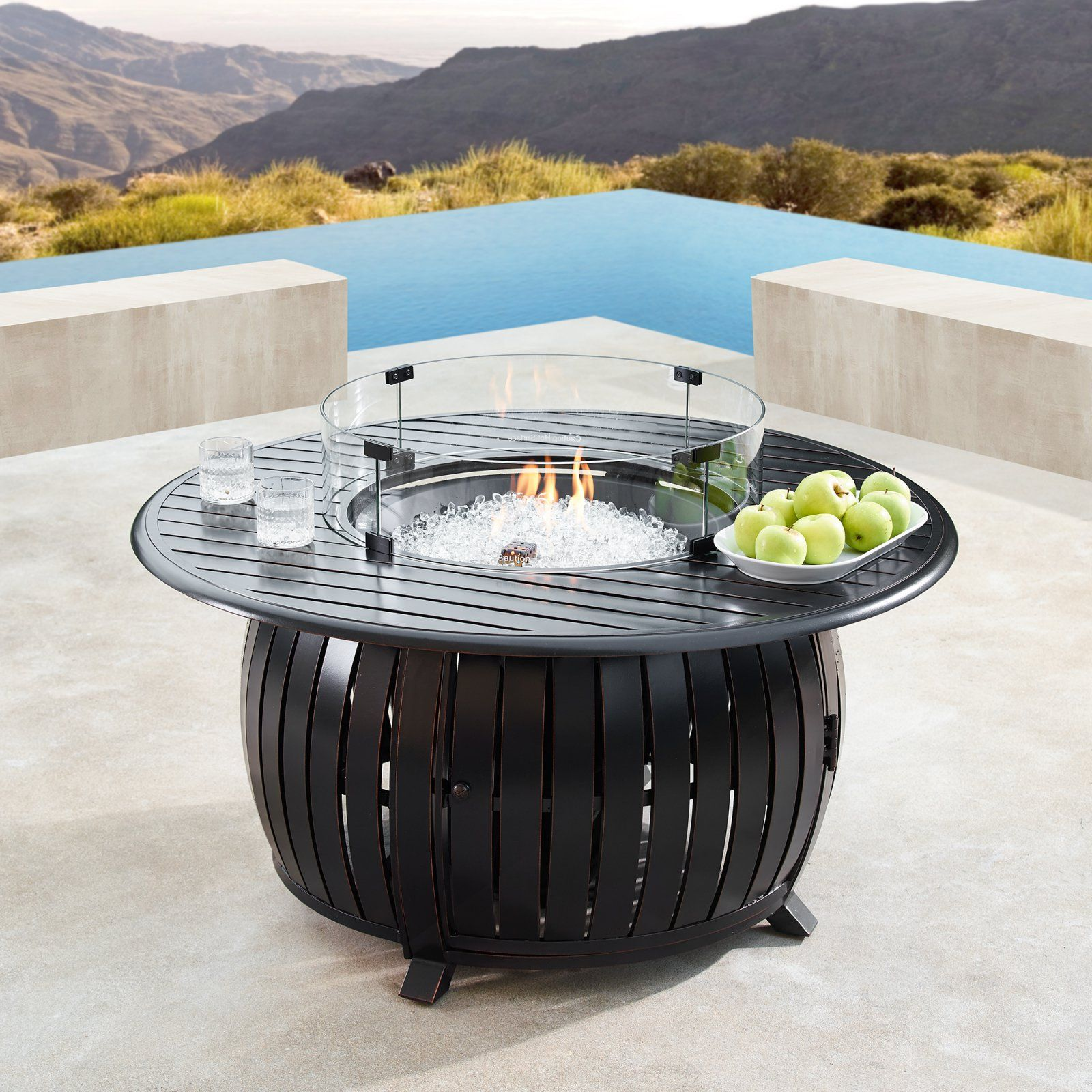 Oakland Living Ital 44 In Round Propane Fire Pit Table In 2020 Fire Table Fire Pit Table Round Propane Fire Pit