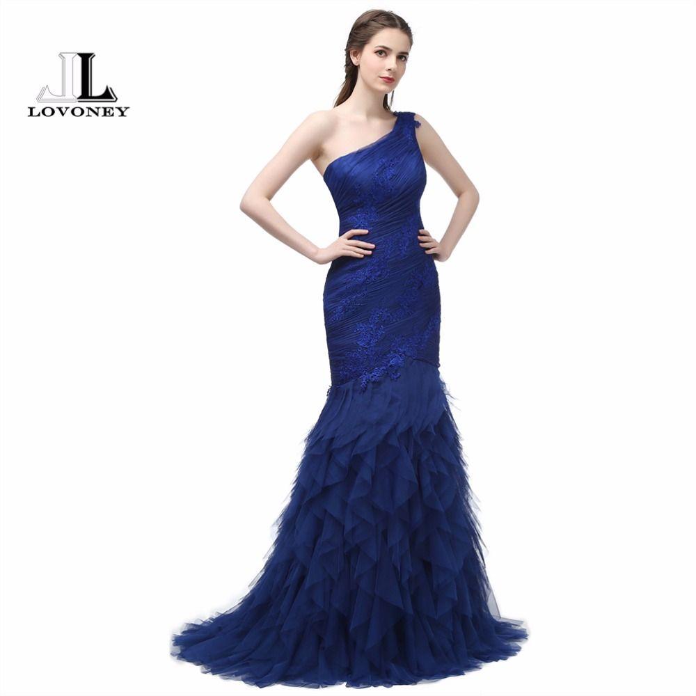 LOVONEY 2017 New Design Elegant Mermaid Evening Gowns One-Shoulder ...