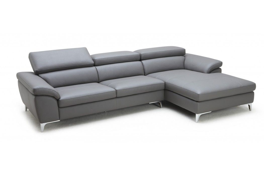 Horton Sectional Eco Leather Modern Sofa Grey | Modani ...