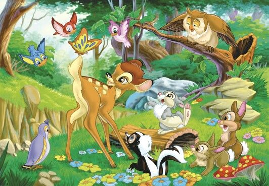 Image result for bambi and friends playing in the forest
